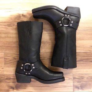 Harley-Davidson Hustin Black Leather Riding Boots